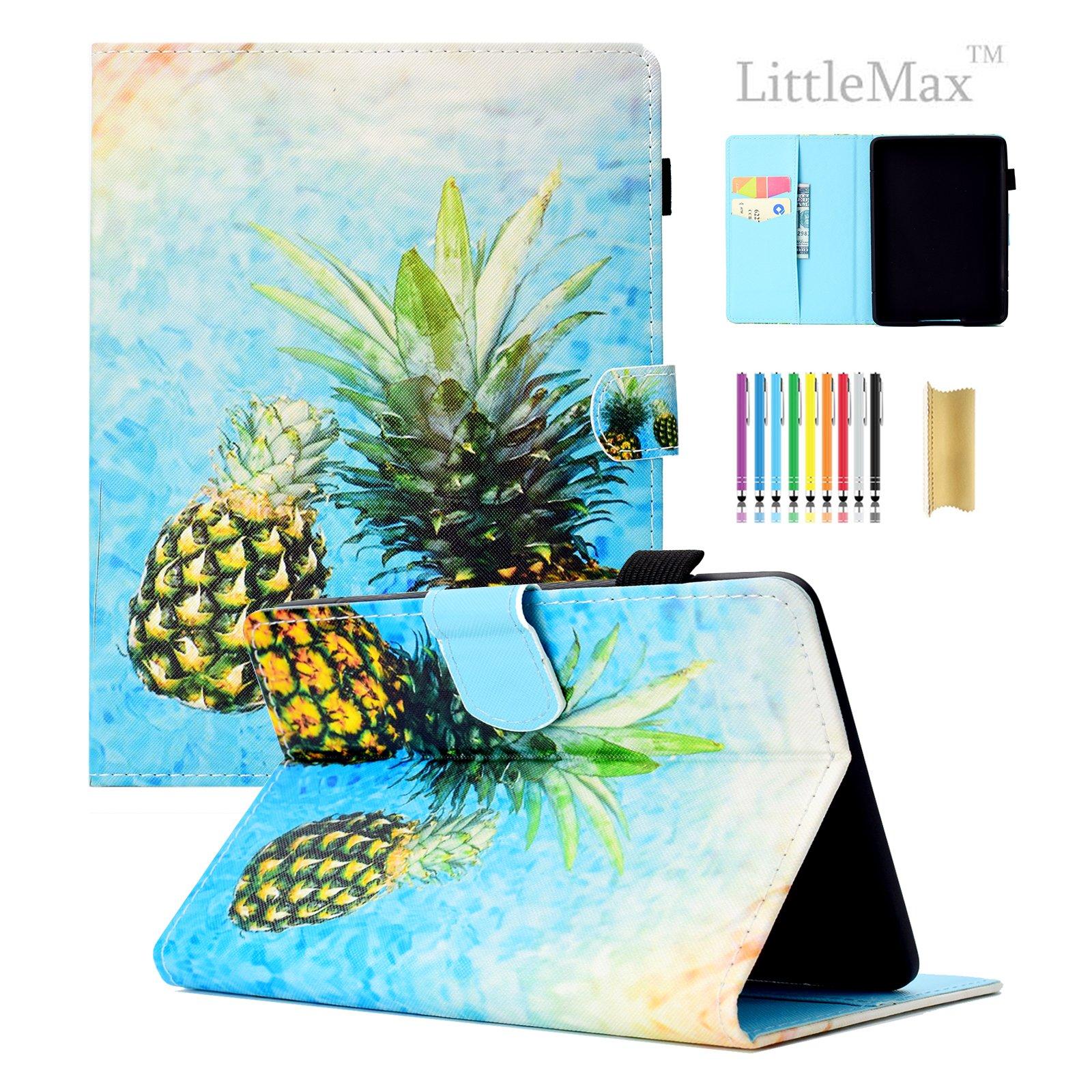 LittleMax Case for Amazon Kindle Paperwhite 1/2/3/4,Colorful PU Leather Kickstand Auto Wake/Sleep Cover for All Amazon Kindle Paperwhite (2012/2013/2015/2016 version)-#2 Two Pineapple