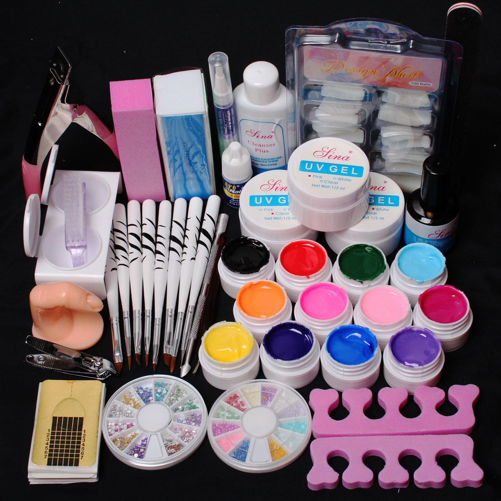 US Seller ~ 24 in 1 Combo Set Professional Color UV Builder Gel DIY Nail Art Decorations Kit Brush Buffer Cuticle Revitalizer Oil Pen Tools Natural White Nail Tips Rhinestones Pearls Cutter Sanding Files Forms Glue UV Gel Set #43 (E) by RY by RY