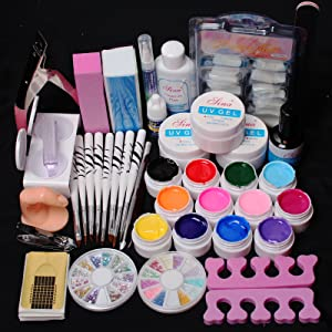 24 in 1 Combo Set Professional Color UV Builder Gel DIY Nail Art Decorations Kit Brush Buffer Cuticle Revitalizer Oil Pen Tools White Nail Tips Rhinestones Pearls Cutter Sanding Files Forms UV Gel Set