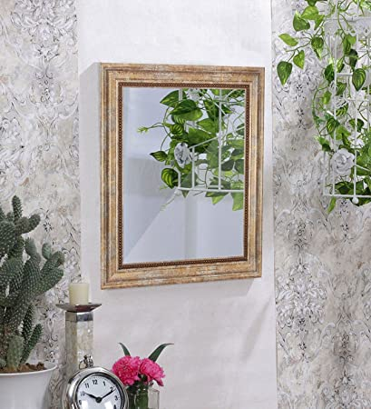 Art Street Wall Perl Decorative Wall Mirror Antique Gold Color Inner Size 16 x 20 inch, Outer Size 20 x 24 inch