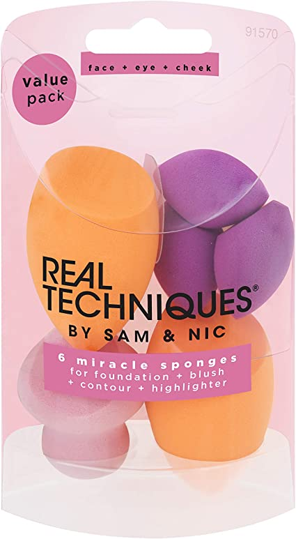Real Techniques - Juego de 6 esponjas milagrosas para rostro: Amazon.es: Belleza