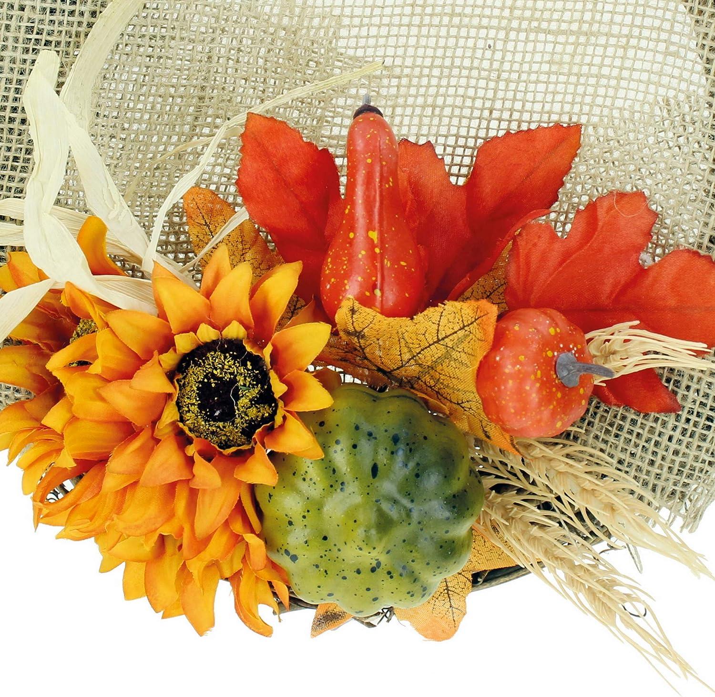STEFANAZZI 1 pc diameter 30 cm autumn wreath with pumpkins and sunflowers do it yourself autumn leaves for decoration branches decorative pumpkins Halloween centerpieces autumn ornamental wreath