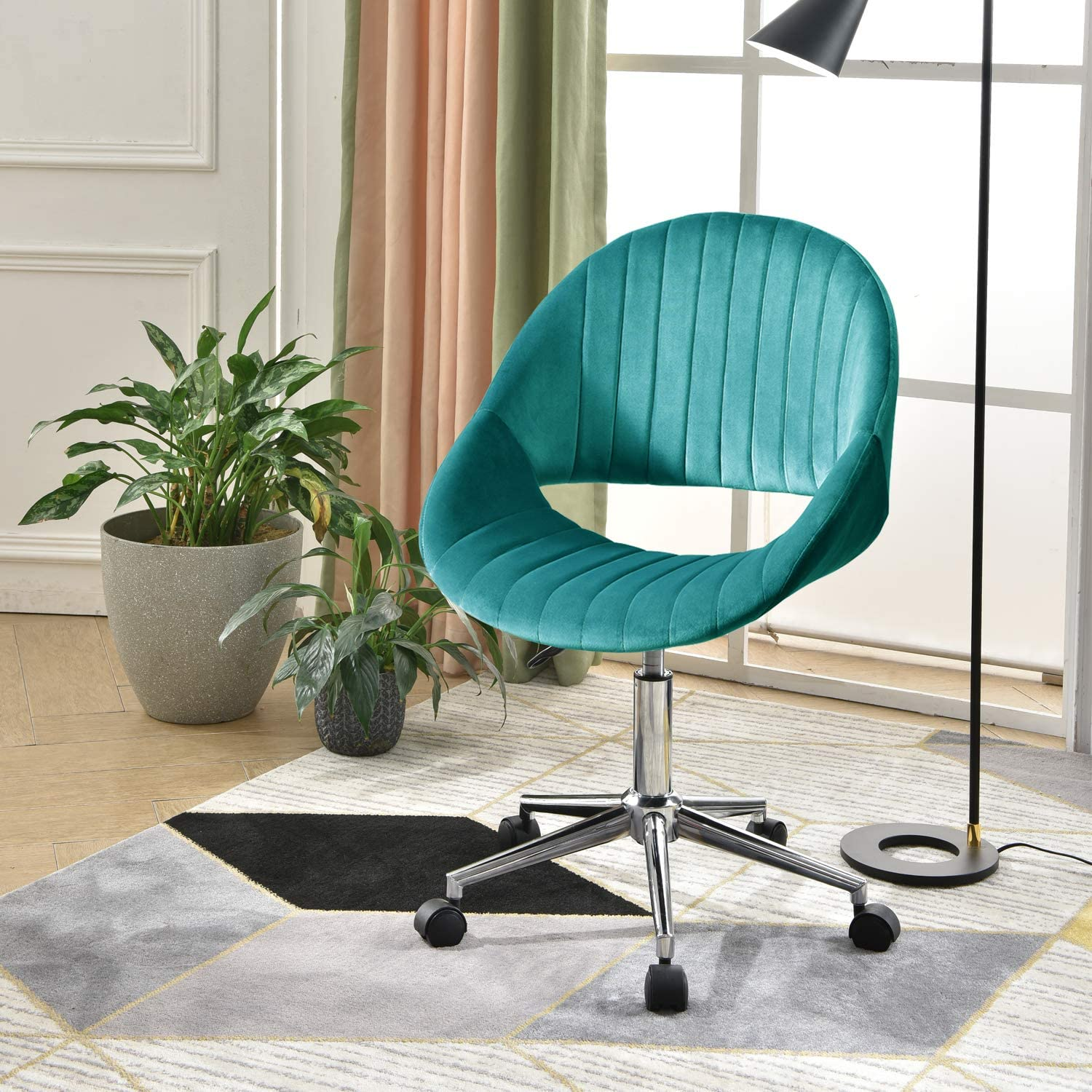 XIZZI Cute Desk Chair,Adjustable Swivel Office Chair for Girl, Velvet Chair with Wheels (Malachite Green-Chrome Frame)