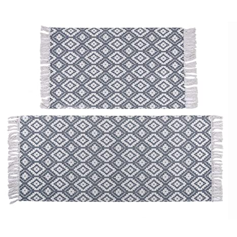 Washable Cotton Throw Rugs.U Artlines Cotton Area Rug Set With Tassels Hand Woven Printed Rug Mat Washable Entryway For Bedroom Kitchen Laundry Room 2 X3 2 X4 2 Diamond