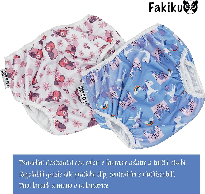 Violett One size waschbar und wiederverwendbar 0-36 2 St/ück in einer Packung verstellbar Fakiku Schwimmwindeln f/ür Schwimmbad und Meer
