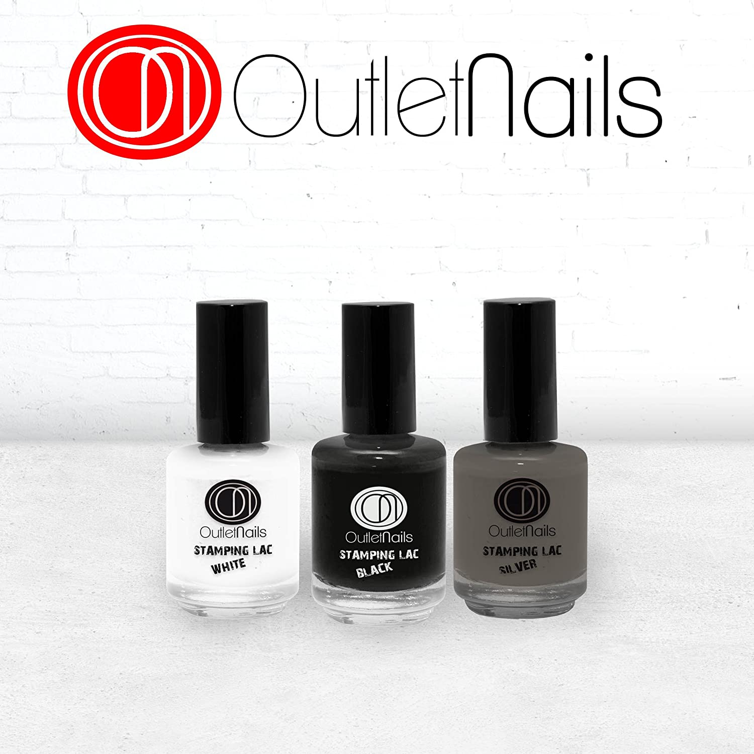 Pack 3 Stamping Lac / Stamping Lac 15ml / Silver + White + Black / Nail Stamping Deco / Alta calidad / Decoración Uñas Ser Beauty S.L.