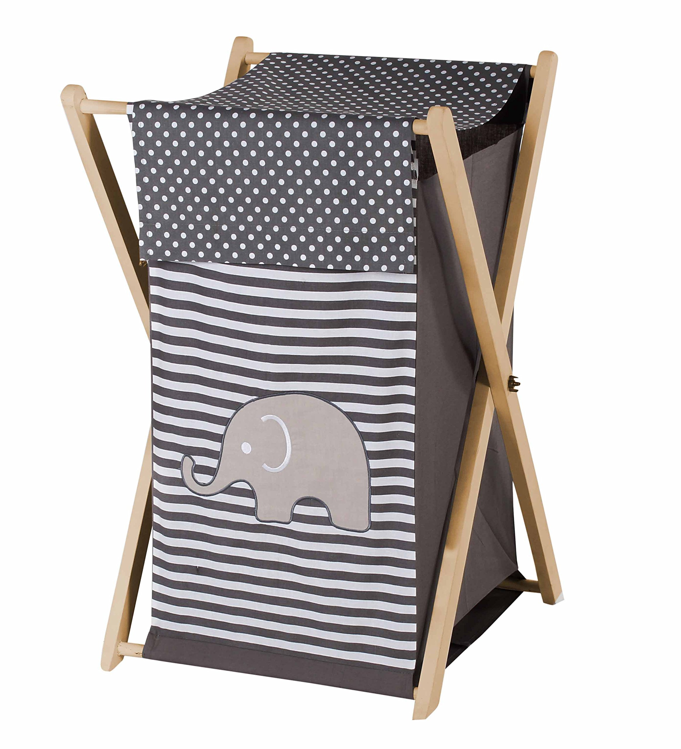 Bacati Elephants Unisex Hamper Cover with Natural Finish Wood Frame and Mesh Liner, Grey by Bacati