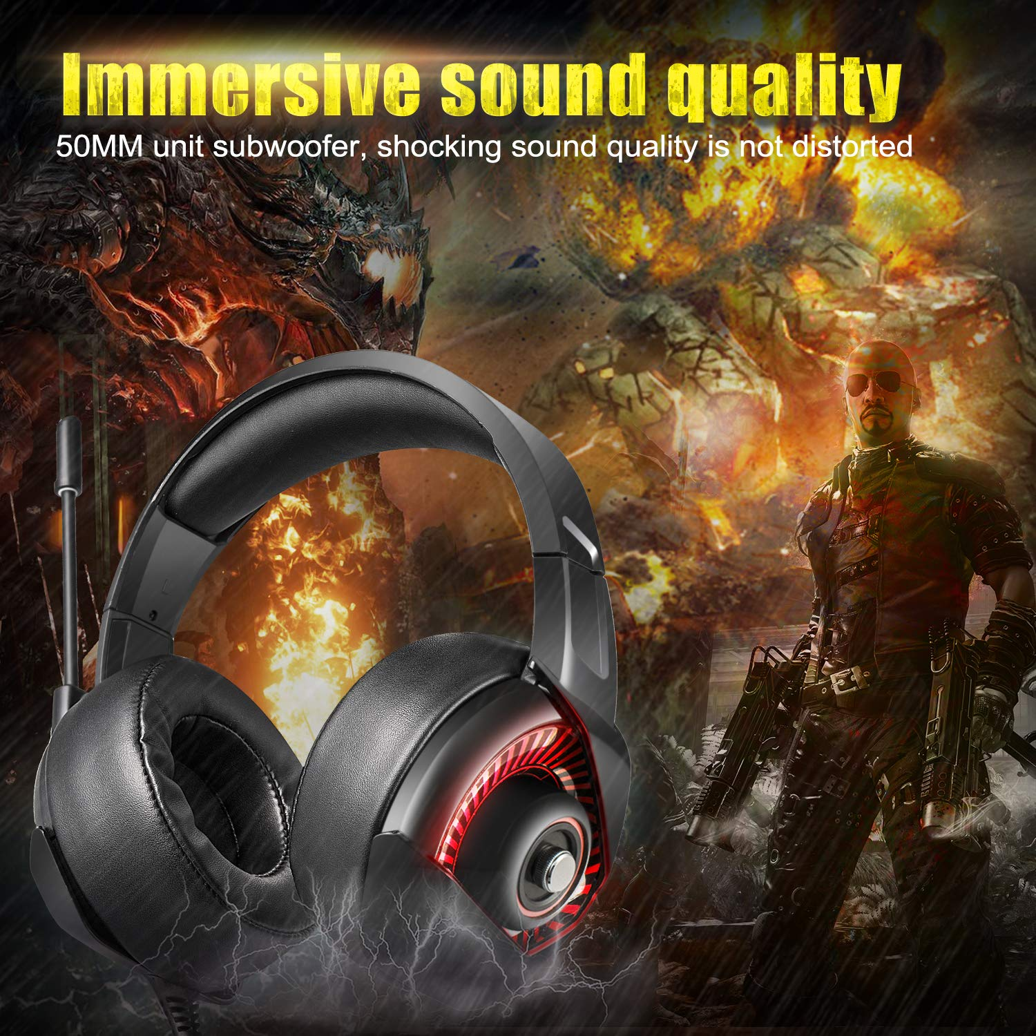 Amazon.com: Gaming Headset for Xbox One PS4 PC, ONIKUMA 7.1 Surround Stereo Sound and Noise Cancelling Over Ear Headphones with Flexible Microphone, ...