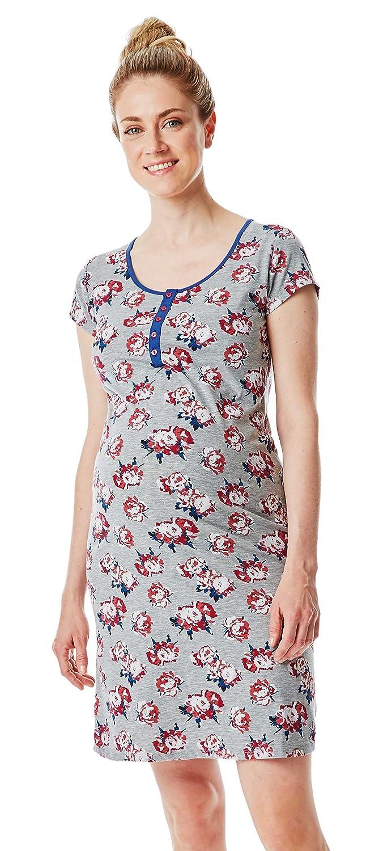ESPRIT Maternity Umstandsmode - verführerisches Damen Still- Nachthemd - integrierte Still-BH