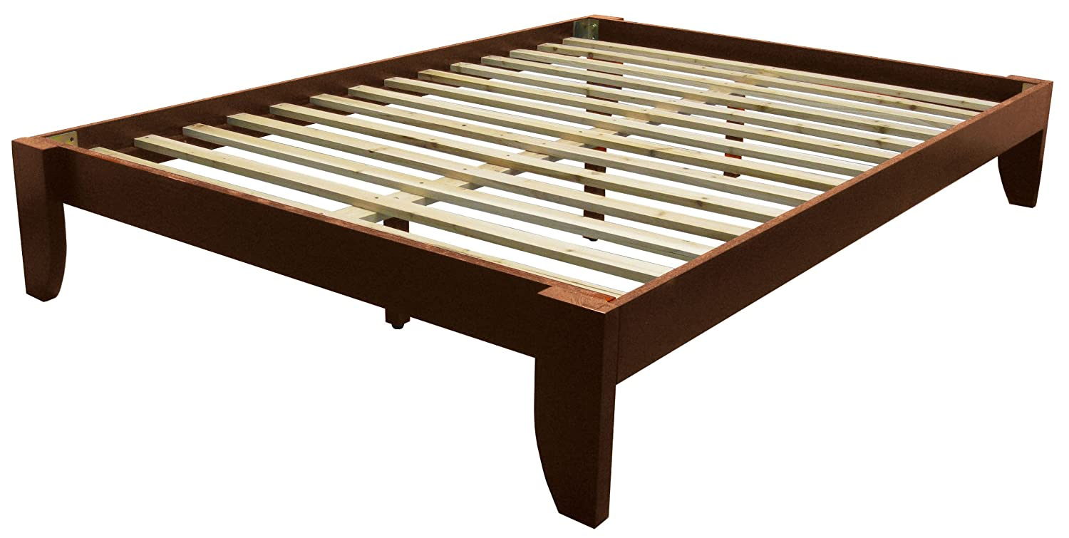 Amazon.com: Copenhagen All Wood Platform Bed Frame, Queen, Walnut ...