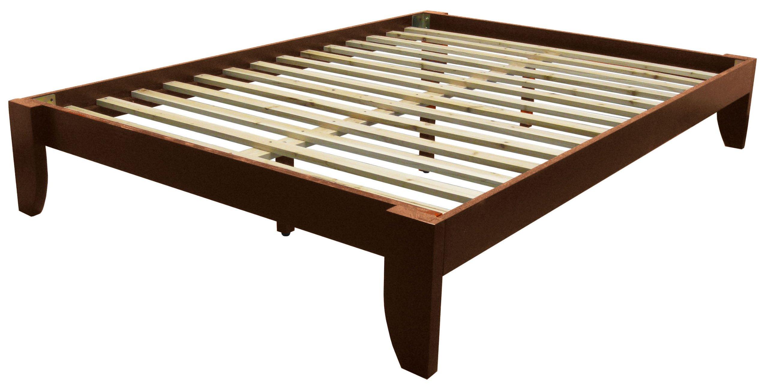 Copenhagen All Wood Platform Bed Frame, Queen, Walnut