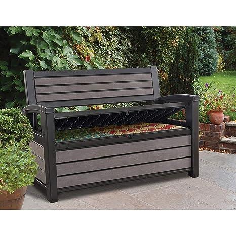 Outstanding Amazon Com Keter Hudson Plastic Storage Bench Deck Box Machost Co Dining Chair Design Ideas Machostcouk