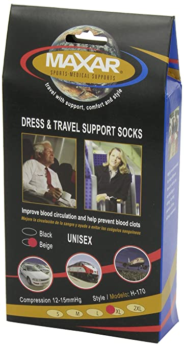 Amazon.com: MAXAR Unisex Air Flight Travel Dress Compression Support Socks for Men and Women, Nurses, Blood Circulation Stockings – Prevents Swelling, Pain, ...