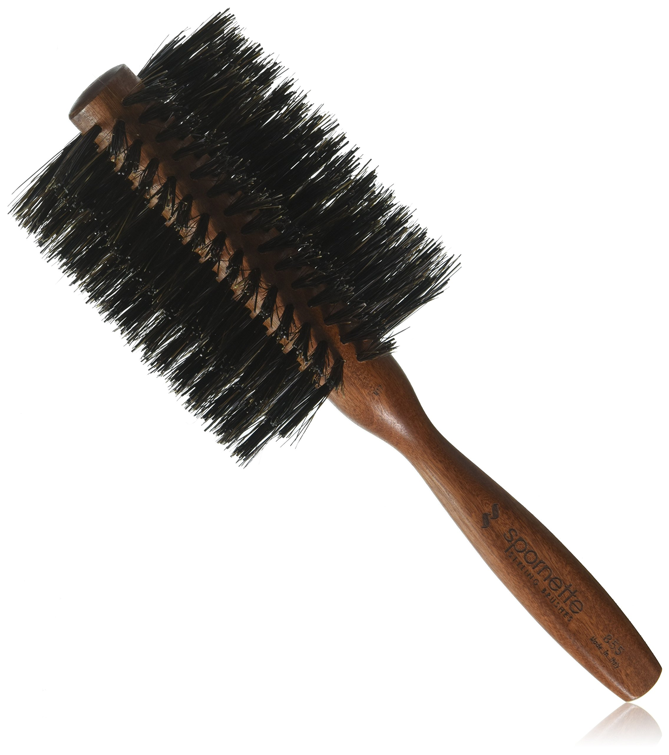 Spornette Italian 3 inch Round Boar Bristle Brush #855 with Wooden Handle for Blowouts, Styling, Volume, Straightening & Curling Medium, Long, Thin, Thick, Straight, Curly, Normal Hair