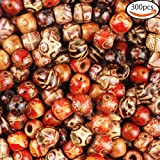 JPSOR 300pcs 12mm Painted Pattern Barrel Beads Wooden Beads Mixed Wood Loose Beads