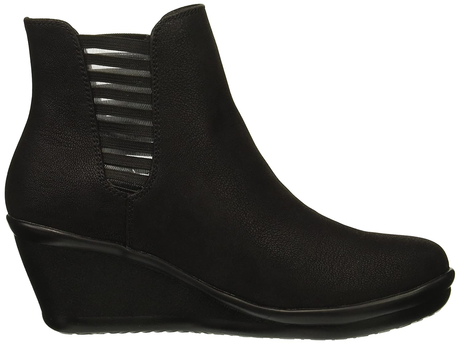 Skechers Women's Rumblers-Beam Me up-Wedge Heeled Dressy Casual Striped Gore Chelsea Boot B079HLZ5QP 7.5 B(M) US|Black