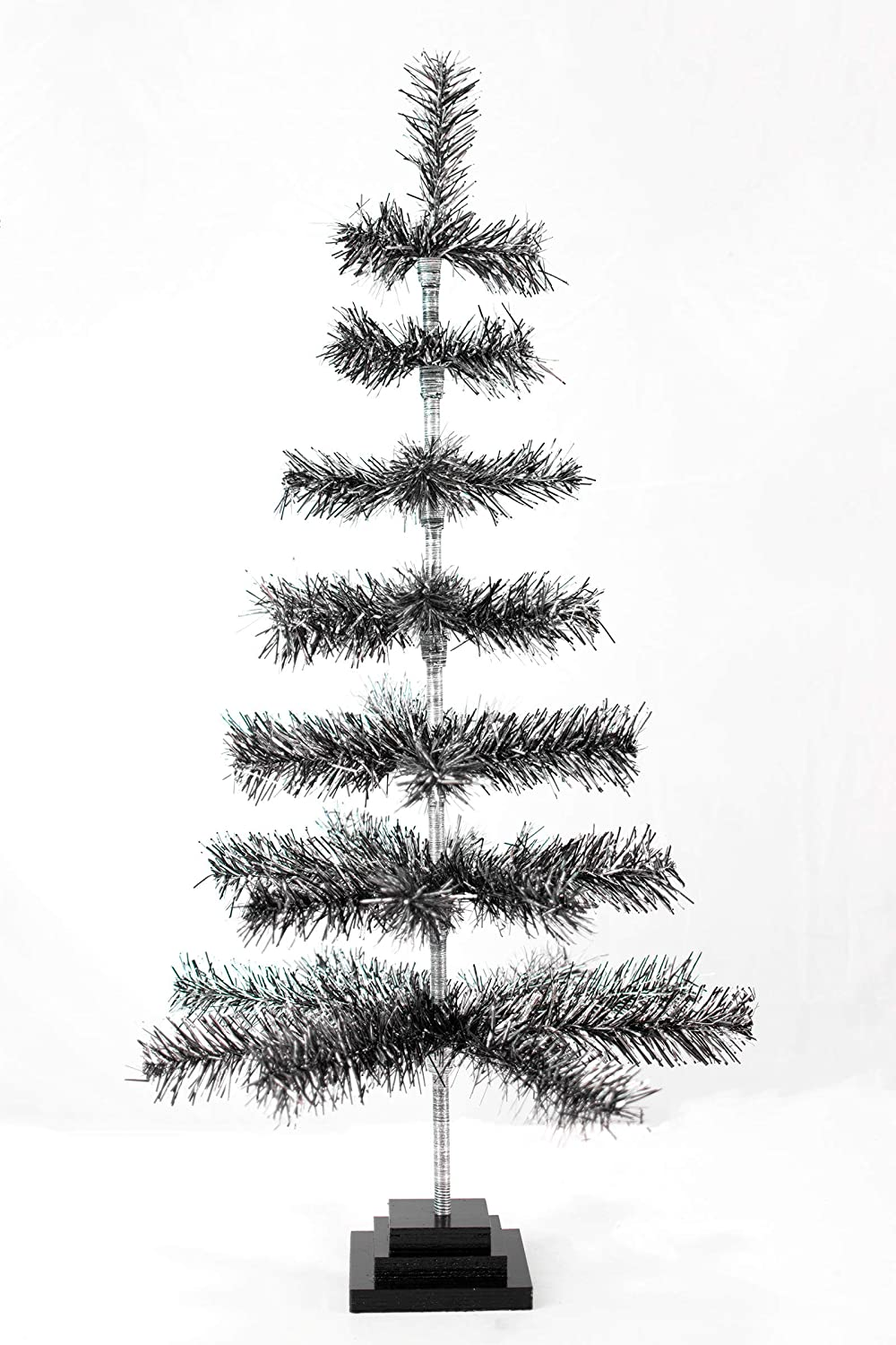 """60/"""" Retro Silver Tinsel Christmas Tree Vintage Feather Style XMASS Holiday 5FT"""
