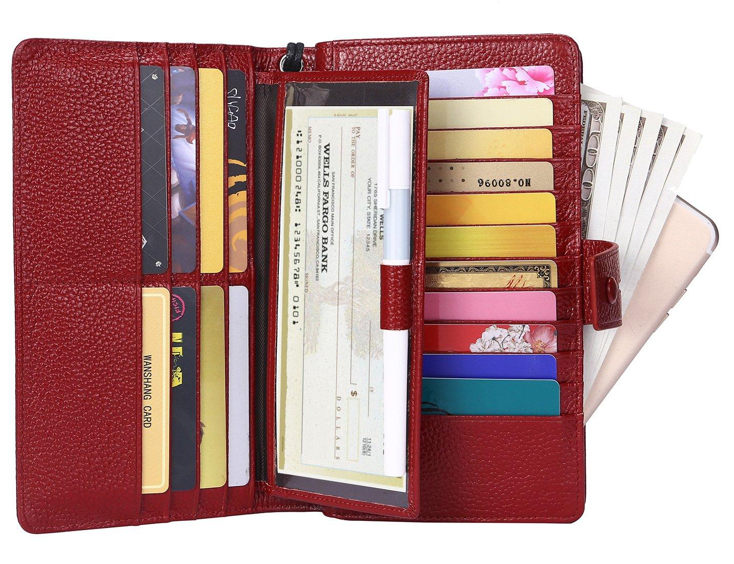 AINIMOER Women's Big RFID Blocking Leather Zip Around Wallets for Womens Clutch Organizer Checkbook Holder Large Travel Purse(Lichee Wine)