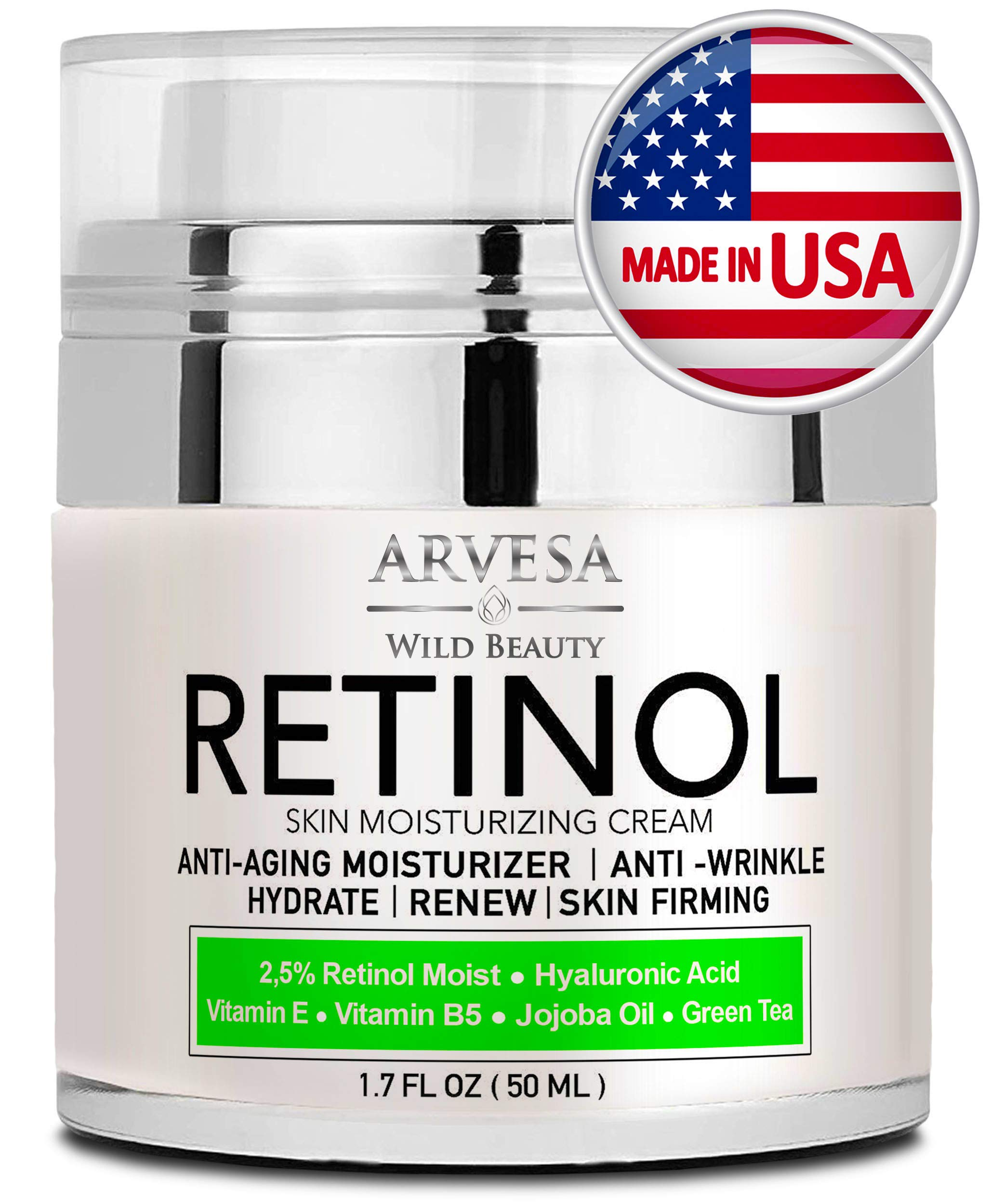Natural Retinol Moisturizer Cream for Face and Eye Area - Made in USA - with Hyaluronic Acid - Active Retinol 2.5% - Anti Aging Face Cream to Reduce Wrinkles & Fine Lines - Best Day and Night by Arvesa
