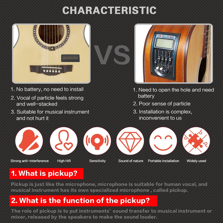 SUNYIN Transducer Acoustic Guitar Mini Pickup,Piezo Contact Microphone Easily AMP UP for Acoustic Classical Violin Ukulele Mandolin Banjo Cello