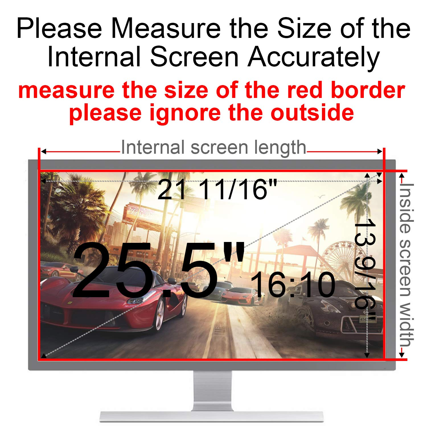 MAYAMANG Privacy Screen Protector 25.5 Inch 16:10 Monitor, Privacy Filter for Widescreen PC Computer, Monitor Privacy Screen 25.5 Inch, Anti-Glare Computer Privacy Screen, Monitor Protector by MAYAMANG (Image #3)