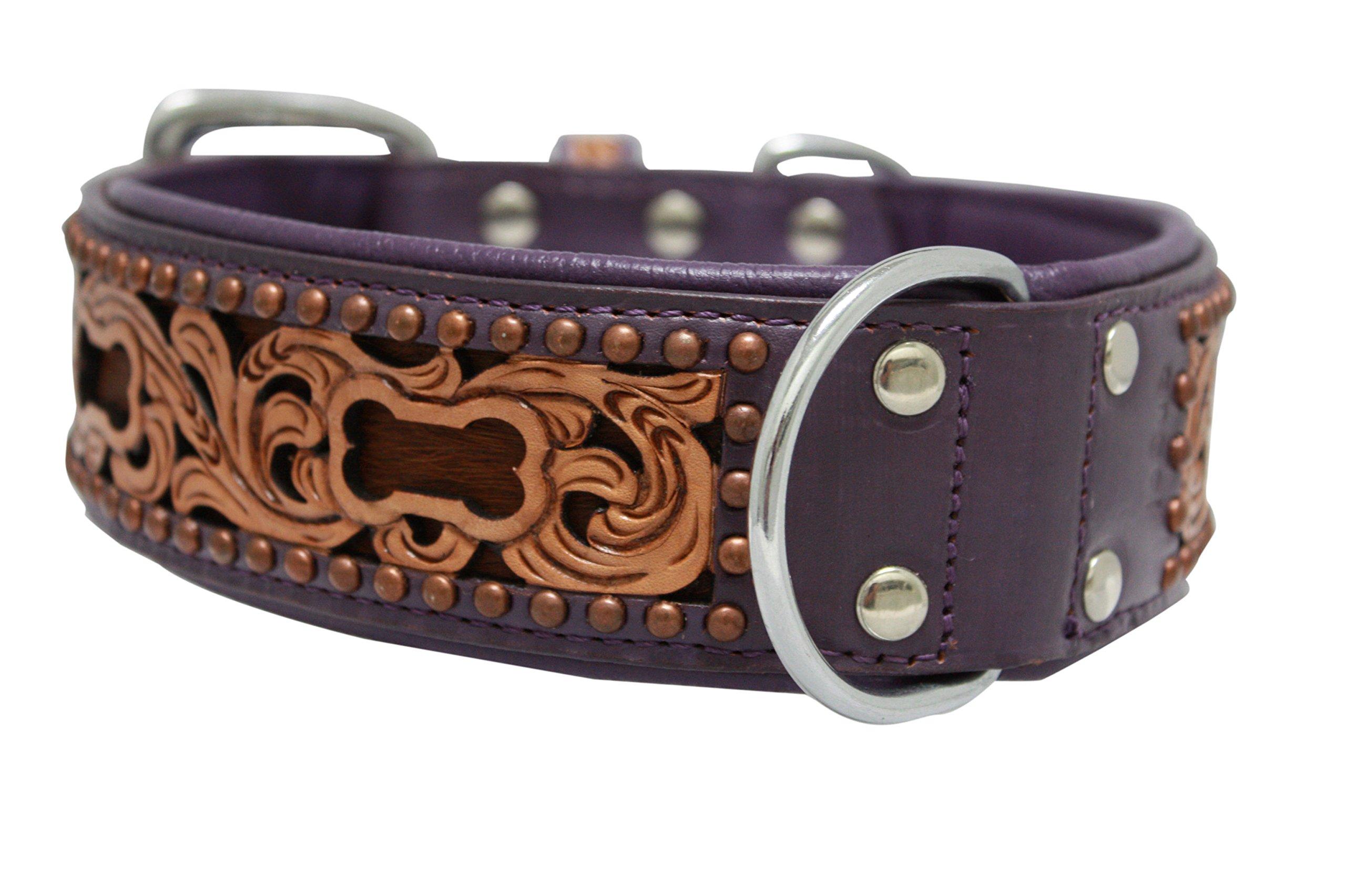 Genuine leather dog collar. 24'' x 1.5'', Western tooled in purple/brown hair-on, inlay Argentinean cowhide. Angel Elite (San Antonio) Necks: 17.5''-22''