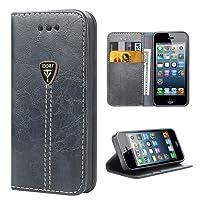 iPhone 5S Funda con tapa libro piel y TPU cartera cover Funda de cuero carcasa bumper protectores iPhone 5 estuches soporte flip Case para Apple iPhone 5 5S SE gris
