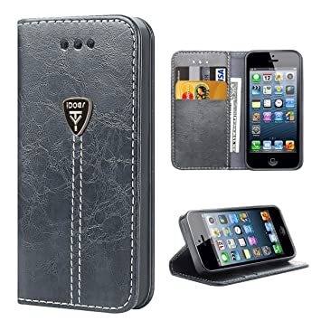 327db19c978 iPhone 5S Funda con tapa libro piel y TPU cartera cover Funda de cuero  carcasa bumper protectores iPhone 5 estuches soporte flip Case para Apple  iPhone 5 5S ...