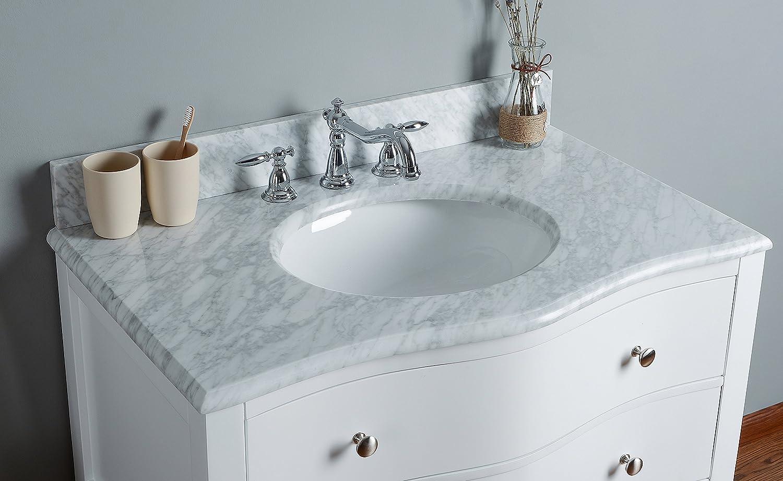 Rubeza 36 Inch Tarsus Bathroom Vanity White Italian Marble Carrara ...