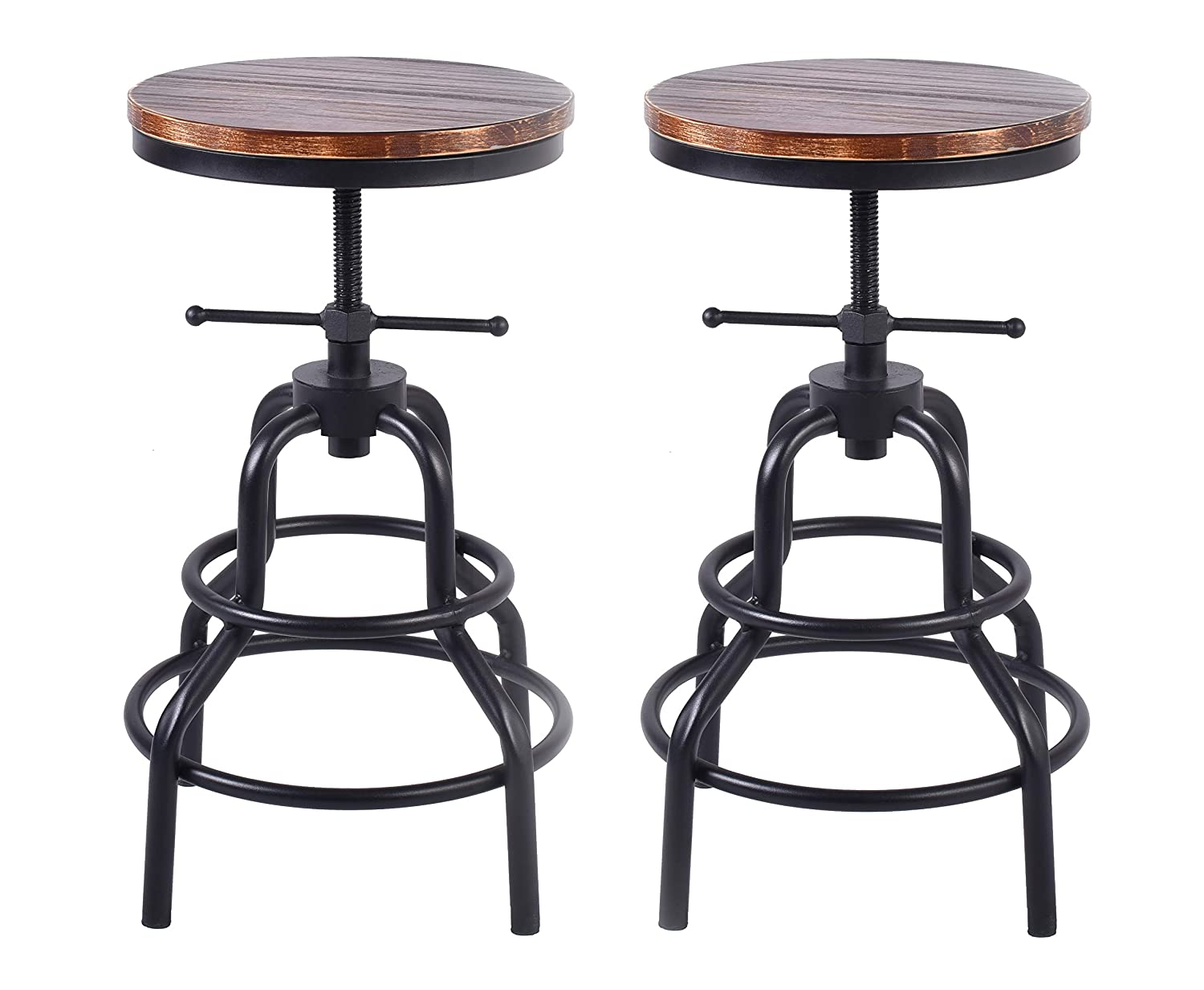 LOKKHAN Vintage Industrial Bar Stool,Rustic Swivel Bar Stool,Round Wood and Metal Stool,Kitchen Counter Height Adjustable Pipe Stool,Cast Iron Stool 27 Inch,No Assembly Required(Set of 2)
