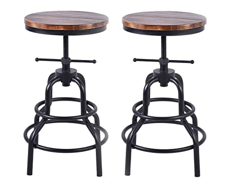 Pleasing Lokkhan Vintage Industrial Bar Stool Rustic Swivel Bar Stool Round Wood And Metal Stool Kitchen Counter Height Adjustable Pipe Stool Cast Iron Stool Pabps2019 Chair Design Images Pabps2019Com