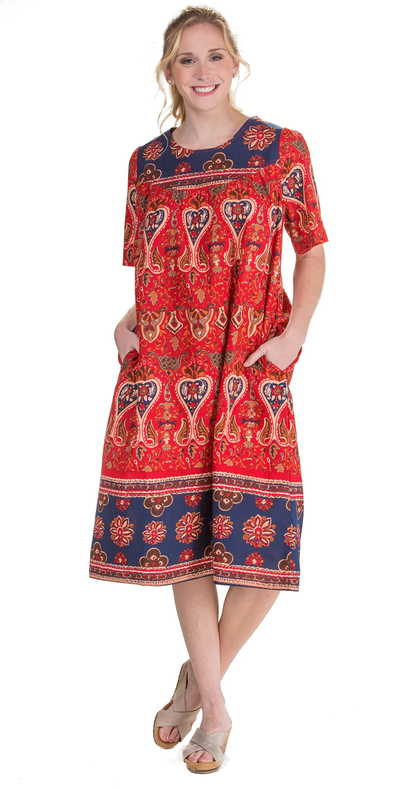 La Cera Short Sleeve Cotton Float Dress - Lounger Caftan In Garden Spice (X-Large (18-20), Red/Brown/Navy)
