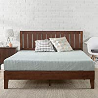 Zinus Deluxe Double Bed Frame Solid Wood Platform Bed with Solid Timber Headboard Mattress Foundation - Antique Espresso
