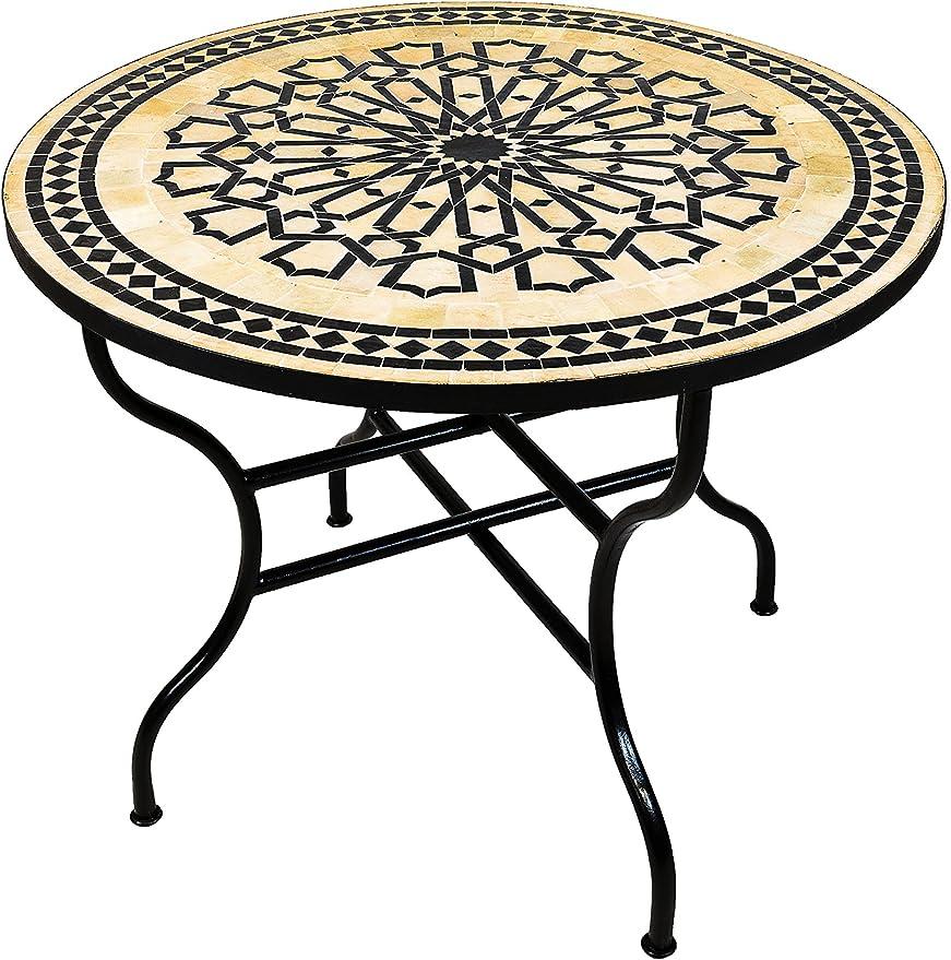 Original marroquí mosaico mesa Jardín Mesa de 100 cm de diámetro grande redondo plegable | redonda plegable mosaico comedor Mediterran | como mesa plegable para terraza o jardín |: Amazon.es: Jardín