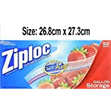 Ziploc Gallon Size Storage Bags (Double Zipper) 52 Bags -26.8cm x 27.3cm