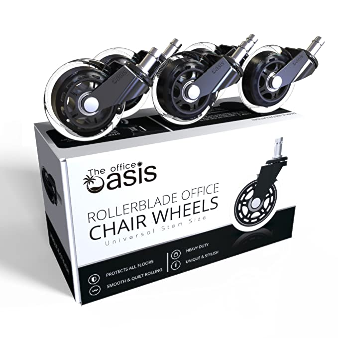 c96e7c32e3dd Amazon.com  Office Chair Caster Wheels (Set of 5) - Heavy Duty   Safe for  All Floors Including Hardwood - Perfect Replacement for Desk Floor Mat ...