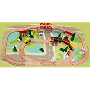 Kids Destiny 50 Pc. Wooden Train Set