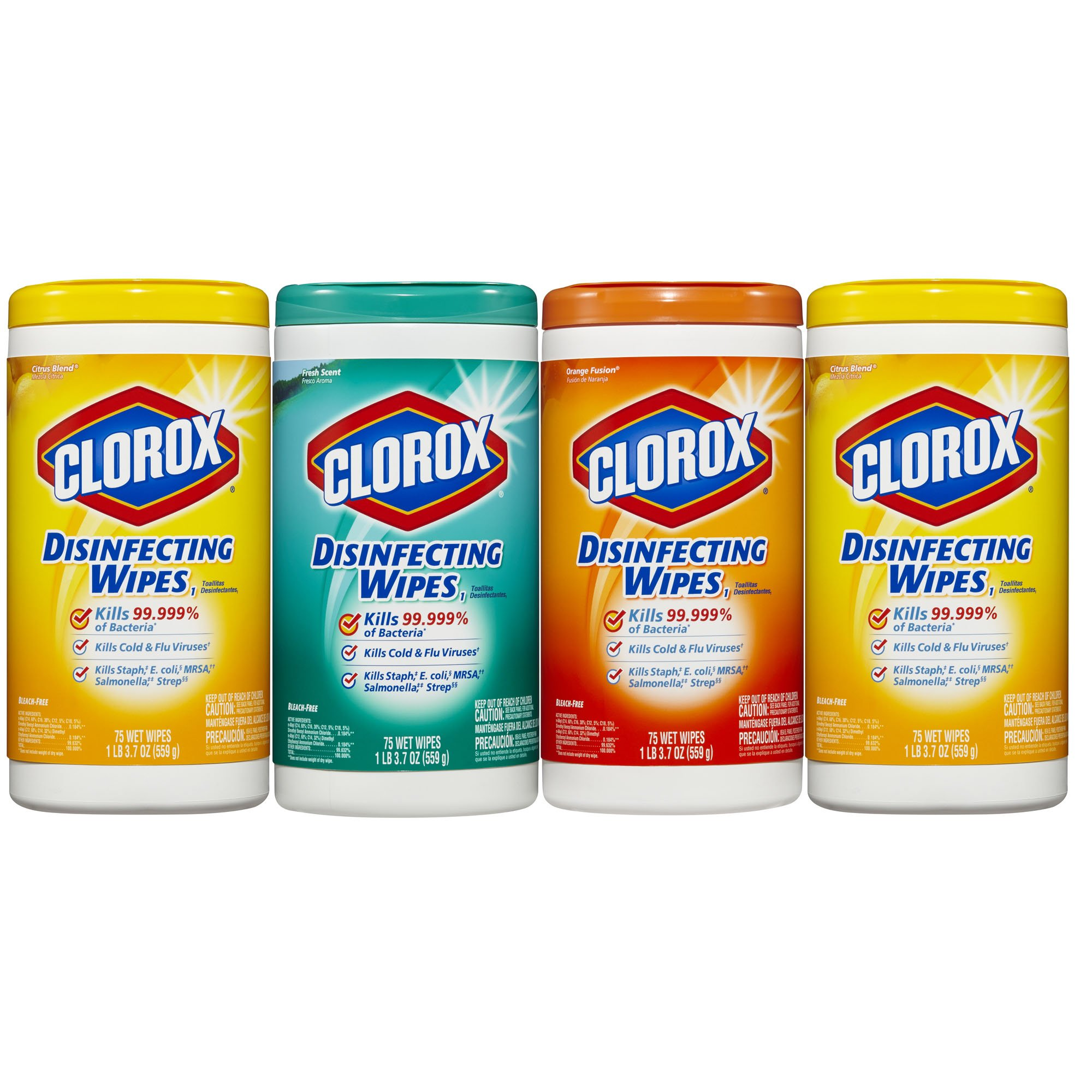 Clorox Disinfecting Cleaning Wipes Value Pack, Crisp Lemon Scent, Fresh Scent and Orange Fusion Scent, 75 Wipes each, 4 Count