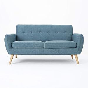 Christopher Knight Home Josephine Mid-Century Modern Petite Fabric Sofa, Blue / Natural