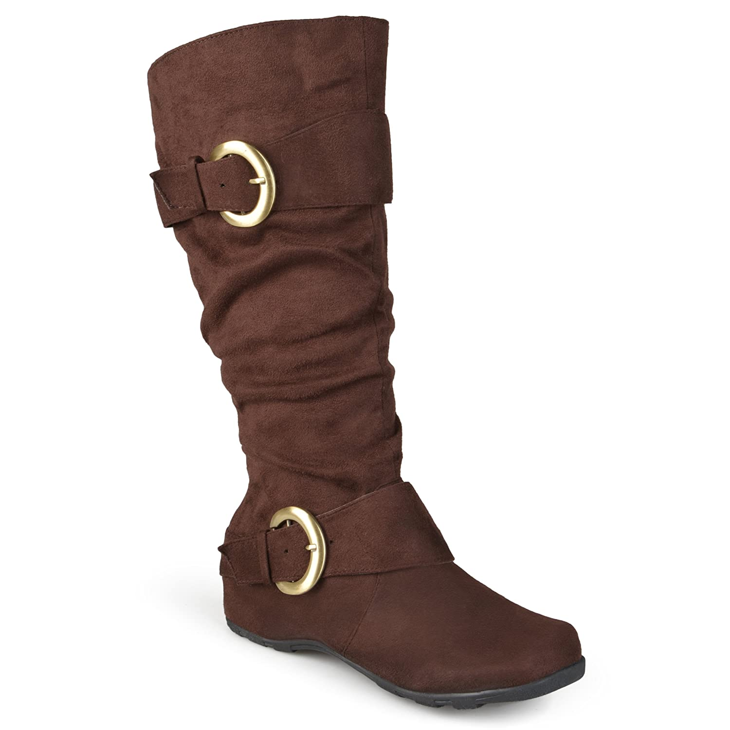 Dark brown knee high boots womens ladies