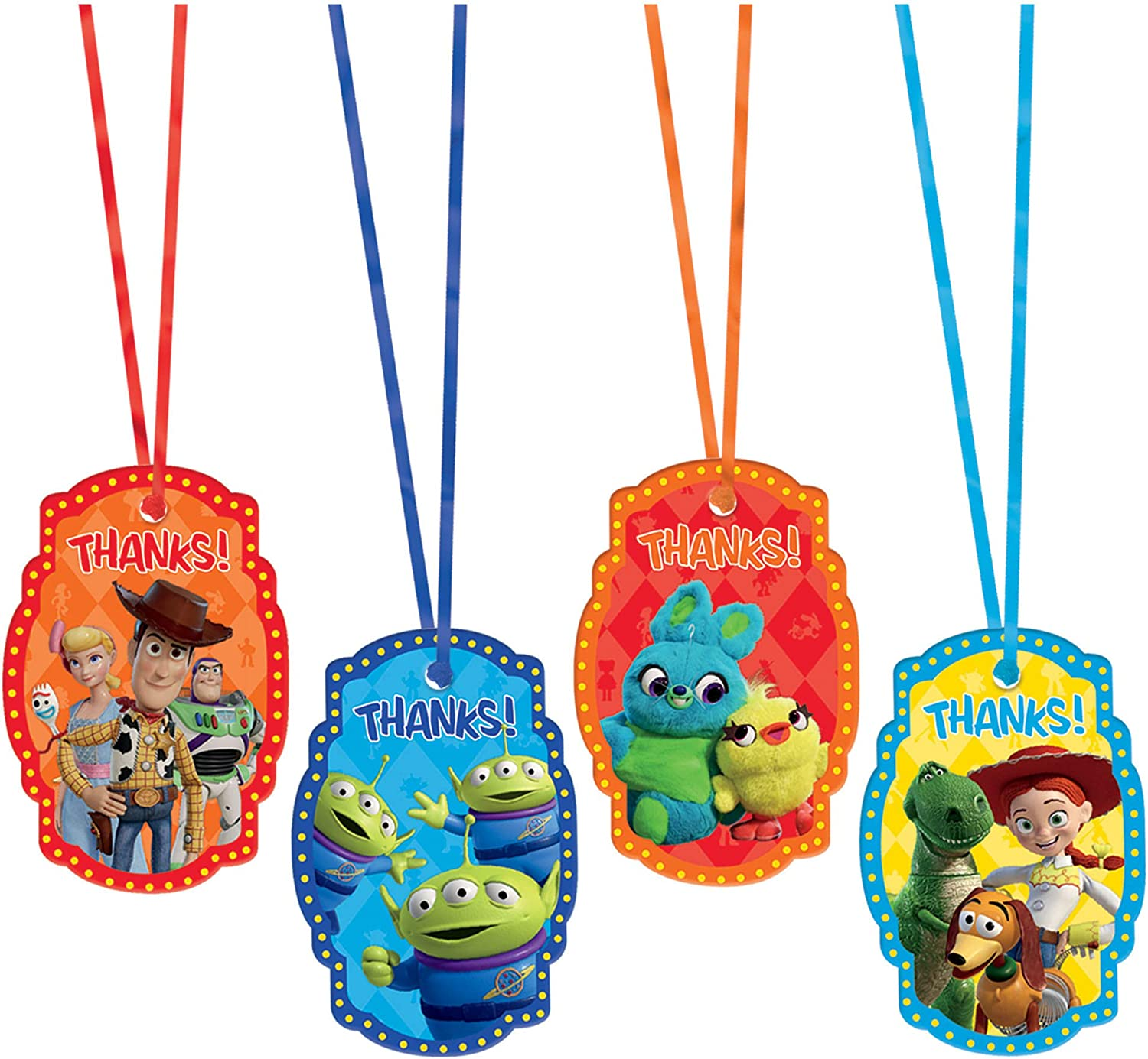 8 Ct. Toy Story 4 Assorted Party Thank You Tags w//Ribbon