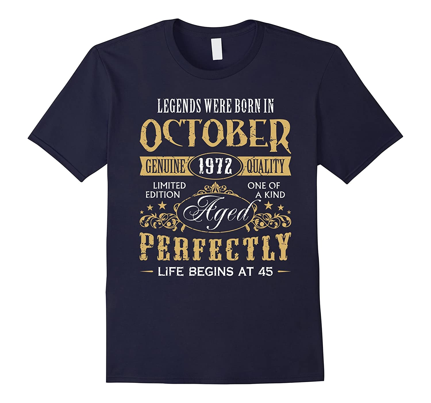 45th Birthday Gifts Men Made in October 1972 T-Shirt Vintage-T-Shirt