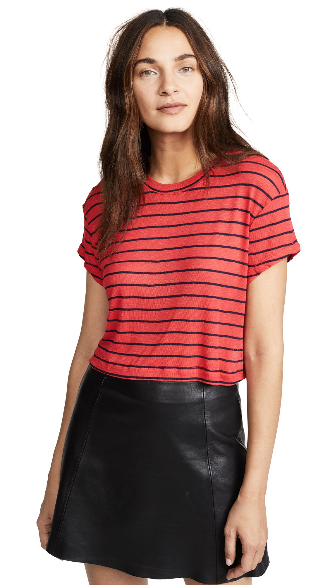 Splendid Women's Striped Crop Top, Roja/Navy, M