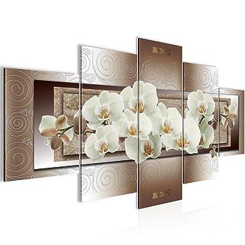Runa Art Bilder Blumen Orchidee Wandbild 200 x 100 cm Vlies - Leinwand Bild  XXL Format Wandbilder Wohnzimmer Wohnung Deko Kunstdrucke Braun 5 Teilig -  ...