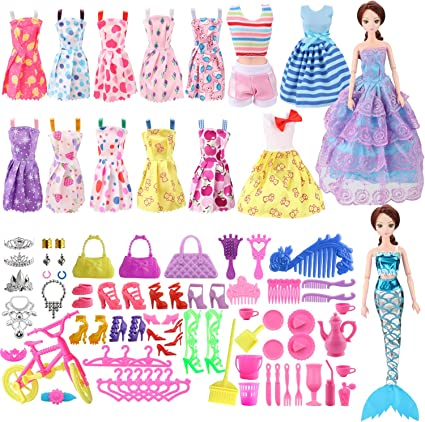 Barbie Handmade Outfit Doll Clothes Dress Shoes For Girls Toys Fashion Wear Set