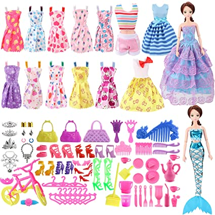 2c48f7ed5cc8 Amazon.com  SOTOGO Doll Clothes Set for Barbie Dolls Include 15 Pack ...