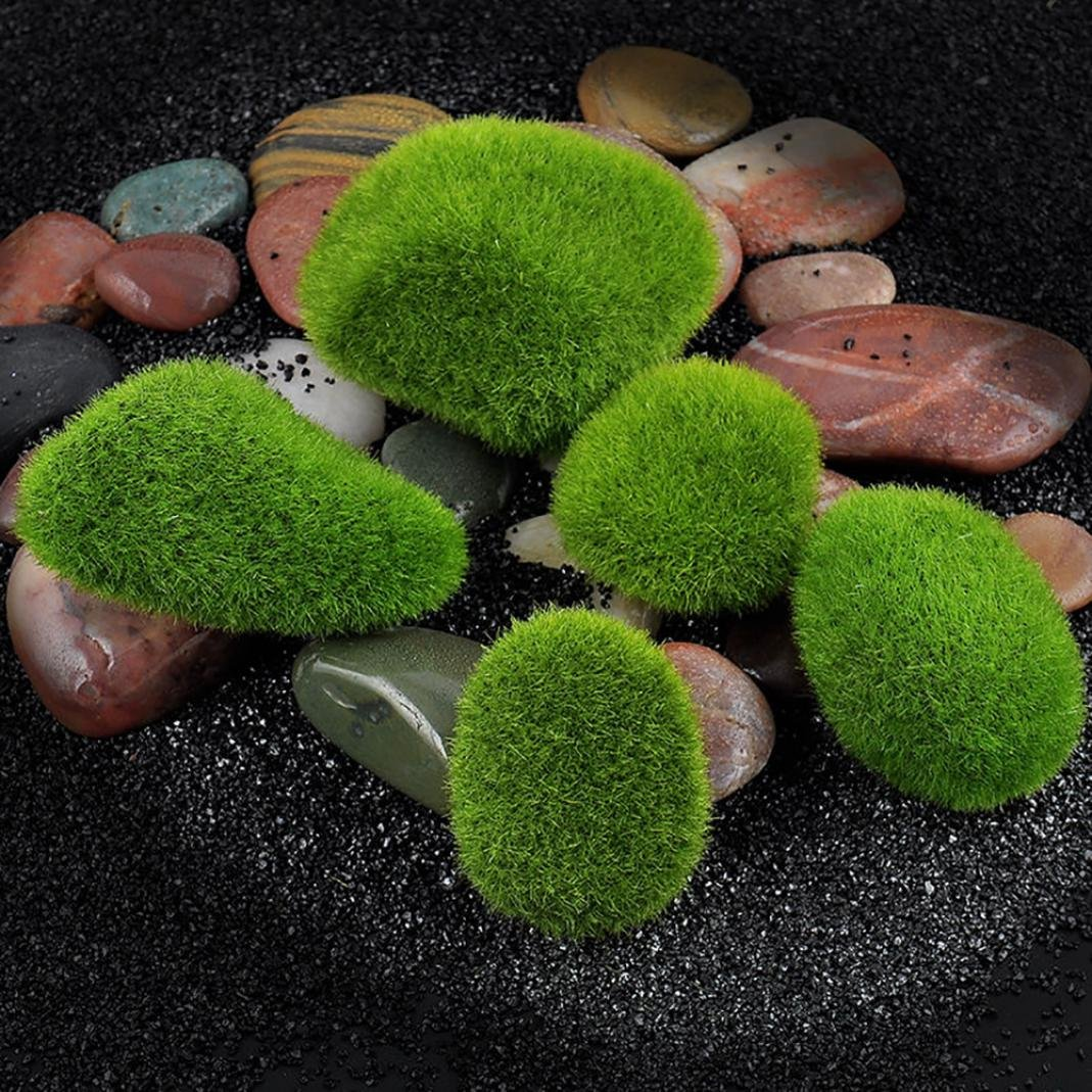 5 Pcs Artificial Moss Foam Stone Grass Plant Poted Micro Terrarium Decor Landscape Miniature Ornament Garden Dollhouse Decor Brussels08