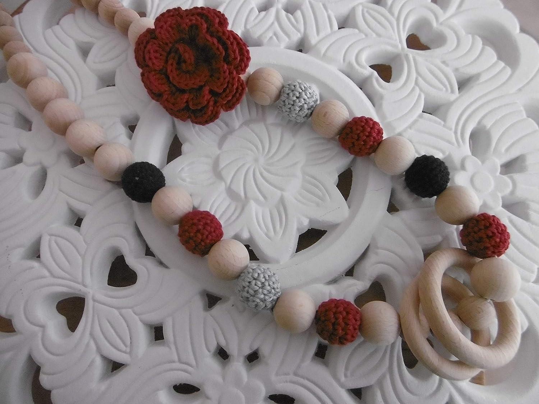Tragetuchkette/Stillkette mit Blume und Holzringen