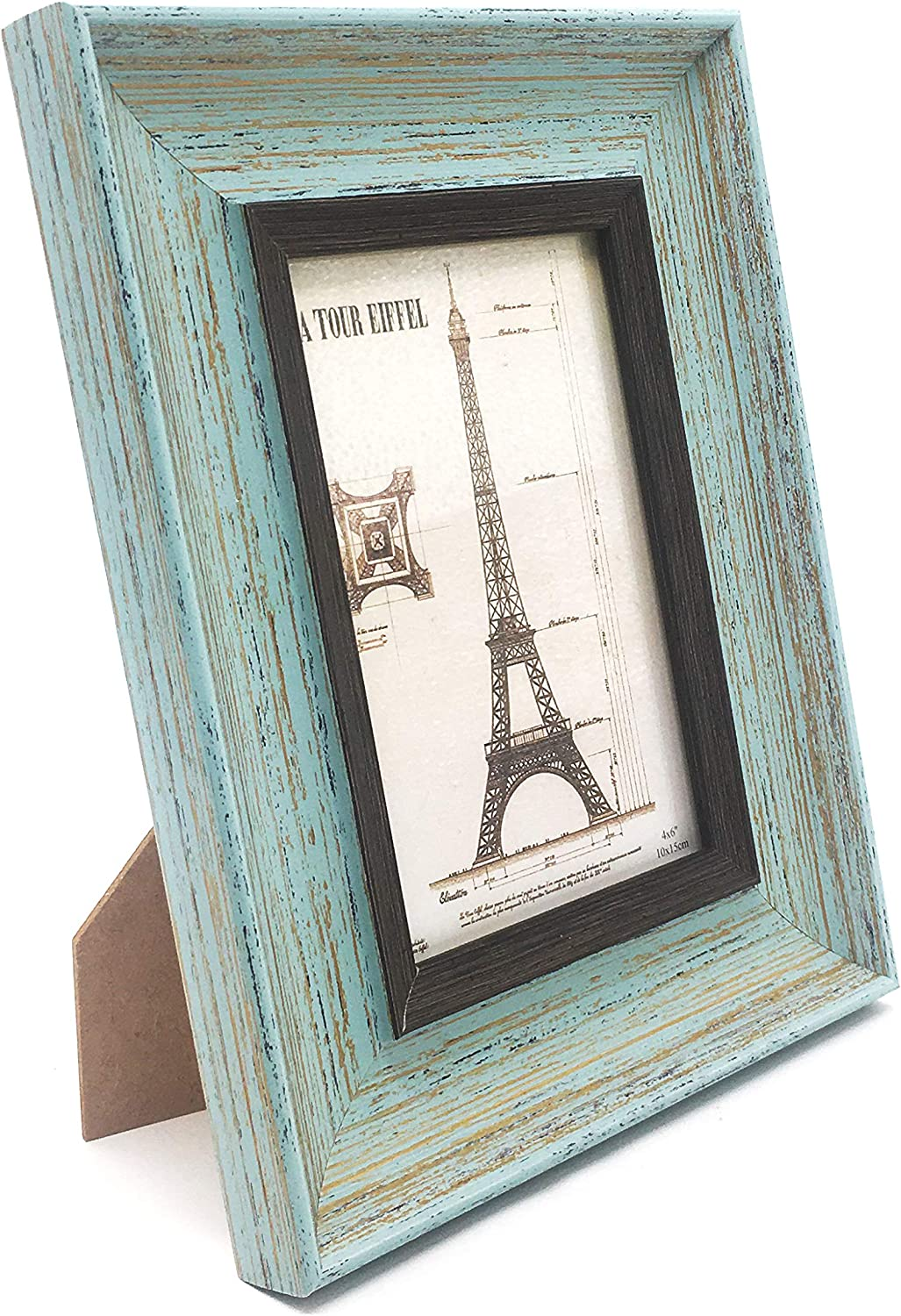 allgala 3-Pack Wood Imitation Desktop Photo Frames with Glass Face - 4X6 Inch - Country Green Style - HD61014