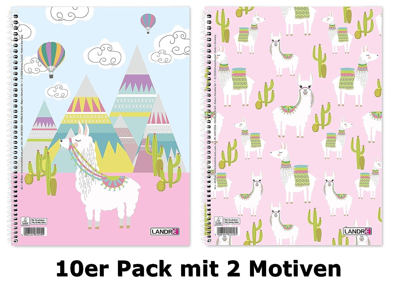 LANDRE 400115056 Collegeblock A4 Lama 10er Pack Liniert mit Doppelrand 2 Motive sortiert Hamelin